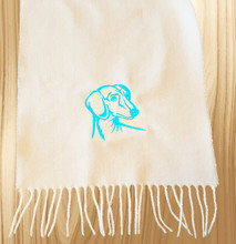 Knit Scarf Dachshund Embroidered Head WHITE with AQUA