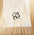 Knit Scarf Dachshund Embroidered Head WHITE with BLACK
