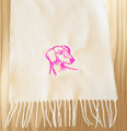 Knit Scarf Dachshund Embroidered Head WHITE with HOT PINK