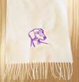 Knit Scarf Dachshund Embroidered Head WHITE with PURPLE