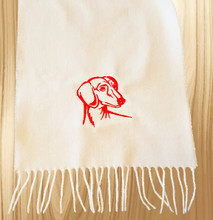 Knit Scarf Dachshund Embroidered Head WHITE with RED