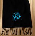 Knit Scarf Dachshund Embroidered Head BLACK with AQUA