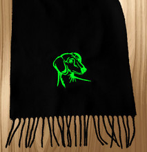 Knit Scarf Dachshund Embroidered Head BLACK with LIME GREEN