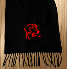 Knit Scarf Dachshund Embroidered Head BLACK with RED