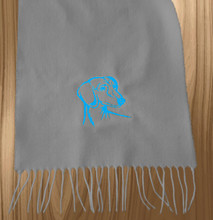 Knit Scarf Dachshund Embroidered Head GRAY with AQUA