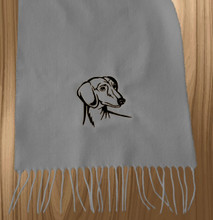 Knit Scarf Dachshund Embroidered Head GRAY with BLACK