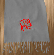 Knit Scarf Dachshund Embroidered Head GRAY with RED