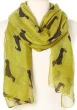 LIME w BLACK Viscose Cotton Dachshund Print Scarf, Shawl, Wrap, Couch Chair Accent or Table Runner