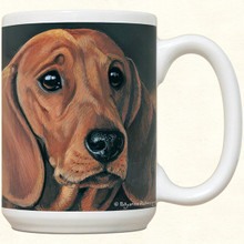 Dachshund Coffee Cup Mug - Smooth Red Doxie Face