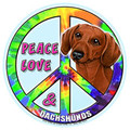 Peace Love and RED Dachshunds Magnetic Bumper Sticker