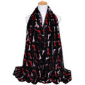 2 Dox BLACK RED Viscose Cotton Dachshund Print Scarf, Shawl, Wrap, Couch Chair Accent or Table Runner