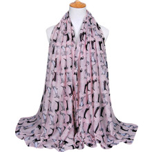 2 Dox Light Pink Viscose Cotton Dachshund Print Scarf, Shawl, Wrap, Couch Chair Accent or Table Runner