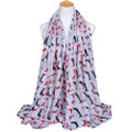 2 Dox WHITE Viscose Cotton Dachshund Print Scarf, Shawl, Wrap, Couch Chair Accent or Table Runner