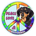 Peace Love and Black-Tan Dachshunds Magnetic Bumper Sticker