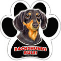 Dachshunds Rule – Smooth Black-Tan – Paw Shaped Magnetic Bumper
