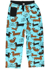 Light Blue Long To Be Around You Lounge PANTS with Wiener Dog Dachshund for Pajama Sleep or Play