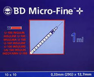 Bd Micro-Fine U-100 Insulin Syringe needles 1ml (100)