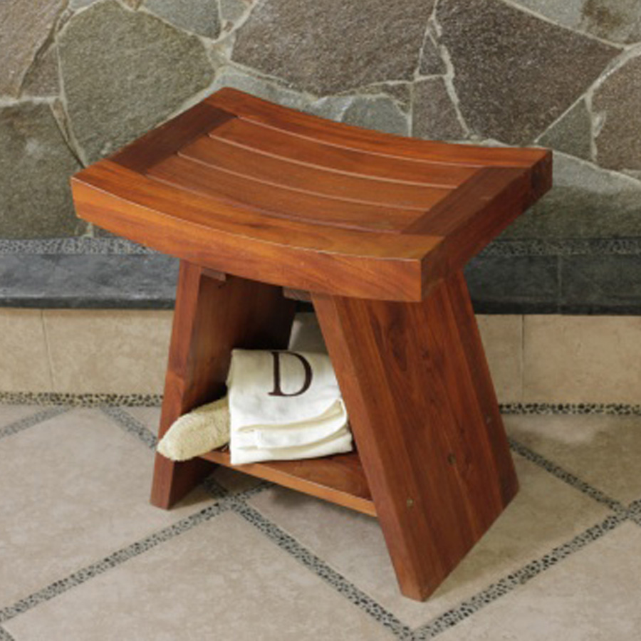 Classic Teak Asia Shower Stool Shower Bench Shower Chair Bath Bathroom