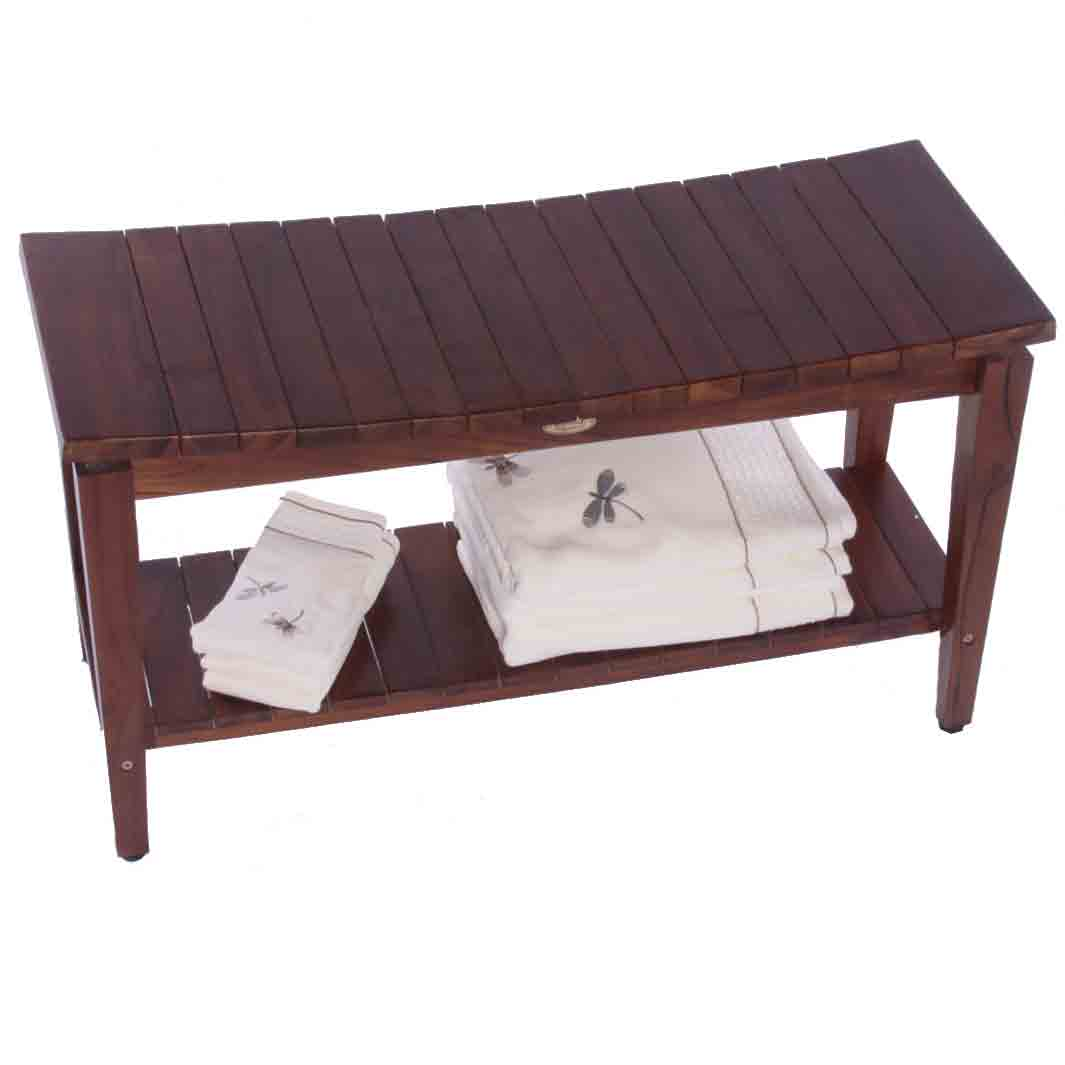 Asia teak shower bench with shelf sojourn quot