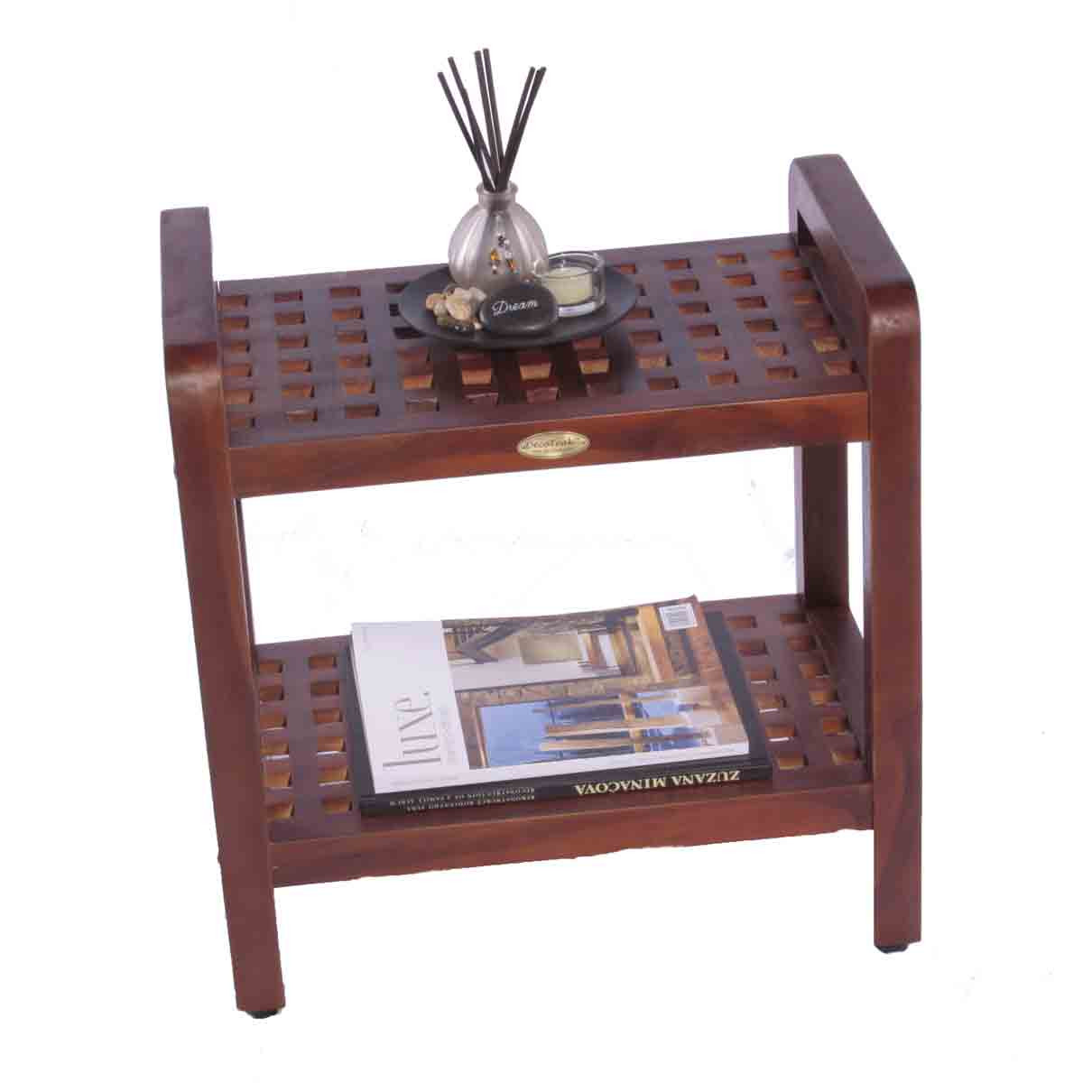Contemporary Grate teak shower bench chair seat stool with shelf- 18\