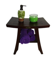"FULLY ASSEMBLED- Satori 18""  Solid Teak Shower Bench WITH SHELF- ADJUSTABLE HEIGHT FOOT PADS"