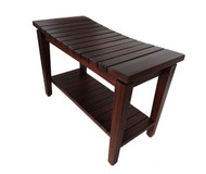 """Patented Sojourn™ Contemporary Teak Shower Bench With Shelf- 30"""""""