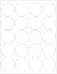 "2"" Circle Labels, Blank, 20 per sheet [25 Sheets/500 Labels]"