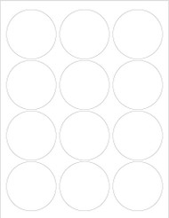 "2.5"" Circle Labels, Blank 12 per sheet [25 Sheets/300 Labels]"