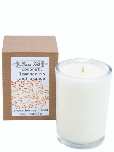 Coconut Lemongrass & Orange Aromatherapy Soy Candle Natural soy wax candle, hand poured in small batches. An artisan soy wax candle of the highest quality.