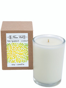Bergamot Cedar Natural soy wax candle, hand poured in small batches. An artisan soy wax candle of the highest quality. An exotic fragrance with citrus top notes of Bergamot surrounded with nuances of freshly ground Ginger combined with Sandalwood, Cedar, Indian Patchouli and Sweet Basil.  Bergamot has been know to help with anxiety, tension and stress.