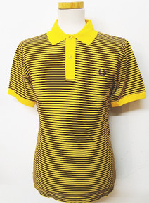 Mercerised Striped Polo - Maize/Aubergine