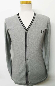 Pique Cardigan - Ash Grey / Black