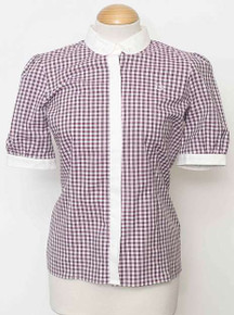 3 Colour Gingham Short Sleeved Shirt - Fuschia