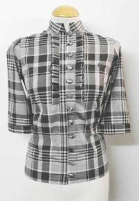Gingham Ruffle Placket Shirt - Black/Grey