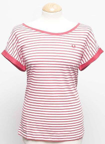 Yarn Dyed Stripe T Shirt - Red