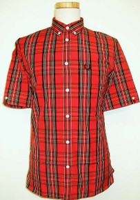 Short Sleeve Stewart Tartan Shirt - Red
