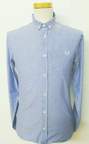 Printed Pin Dot Oxford Shirt - Light Blue