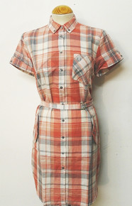 Button Down Madras Shirt Dress - Vintage Pink