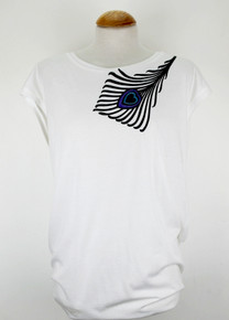 Peacock Feather Tencel / Organic Cotton Top - White