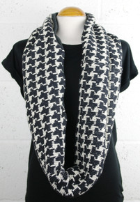 Loop Cotton Knit / Jersey Scarf - Houndstooth / Grey