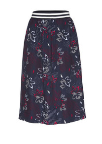 Mira Flower Confusion Skirt - Navy