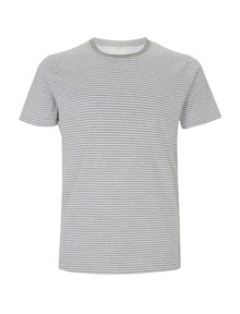 Organic Cotton Striped T - Melange Grey Stripe
