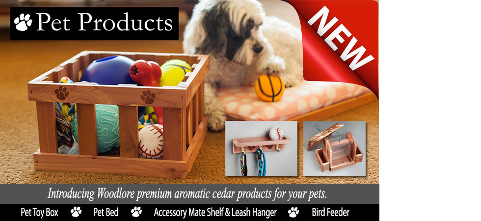 Introducing Woodlore premium aromatic cedar products for your pets.
