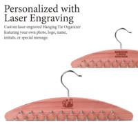 Woodlore Laser Engraved Cedar Hanging Tie Organizer