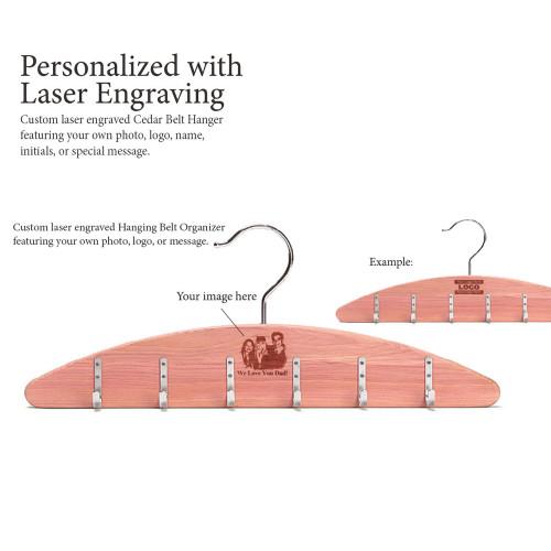 Woodlore Laser Engraved Cedar Hanging Belt Organizer