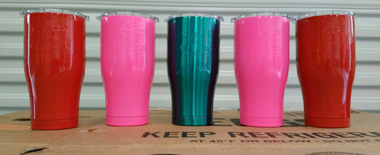 Prismatic Powders - Flame Red PSS-5082 & MIT Powder Coatings - Neon Pink PESP-670-G9 & Candy Teal PESBL-680-G9  - Mugs Photo submitted by Veillon's Powda Shop - Brandon Veillon