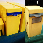 MIT Powder Coatings - Blue Streak PESBL-400-G9 & Safety Yellow PESY-400-G9 - Before & Afters - Tarf O Teria Boxes Photo submitted by Shane Rager of Rager's Edge Powder Coating