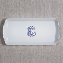 """Behr Knipfer WEAVE MONOGRAMMED 14.75X6.75"""" RECTANGULAR PLATTER 4 colors & 3 fonts available"""
