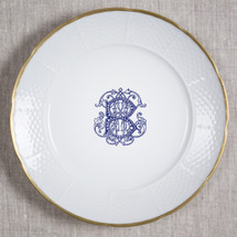 """SEANOR-BURGESS WEDDING WEAVE 12"""" MONOGRAMMED DINNER/CHARGER 24K GOLD RIMMED WITH NAVY COUTURE B AND WEDDING DATE ON BACK"""