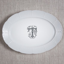 "MANKEY-THOMPSON WEDDING MONOGRAMMED WEAVE 14"" OVAL PLATTER"